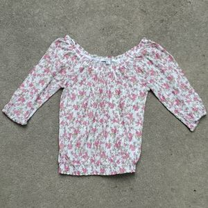 Forever 21 semi sheer lace top pink floral medium